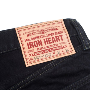 Iron Heart IH-555S-142OD 14oz Selvedge Denim Super Slim - Indigo Overdyed Black