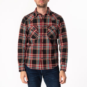 Iron Heart IHSH-237-BLK - Ultra Heavy Flannel Crazy Check Western Shirt - Black
