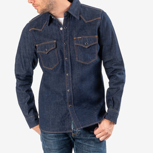 Iron Heart IHSH-246-NIN 12oz Selevdge Denim Western Shirt - Natural Indigo