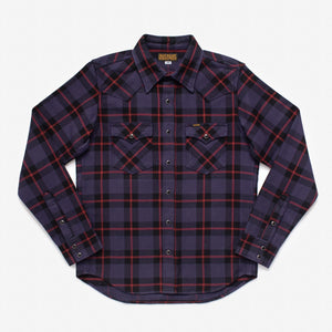 Iron Heart IHSH-260-PPL Ultra Heavy Flannel Crazy Check Western Shirt - Purple Rain