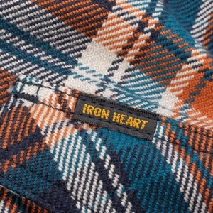 Iron Heart IHSH-262-NAV Ultra Heavy Flannel Crazy Check Western Shirt - Navy