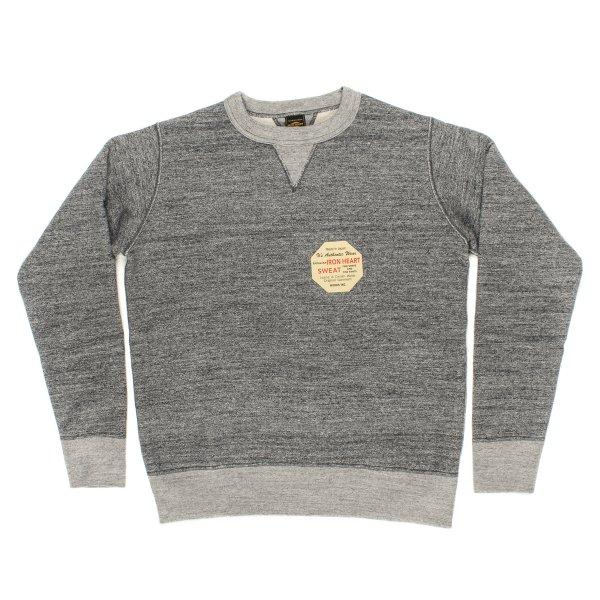 Iron Heart IHSW-34 Heavy Loopwheeled Fleece Lined Sweater - Grey Marl
