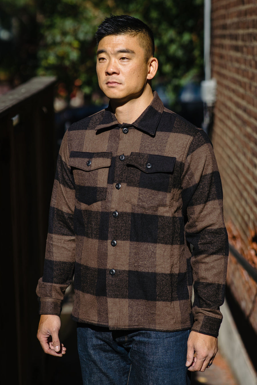 3sixteen Fatigue Overshirt - Brown Buffalo Check