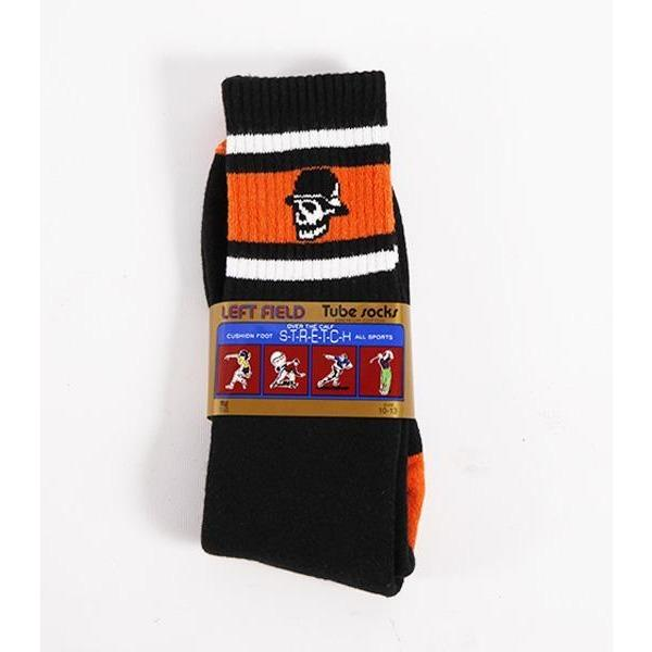 Left Field NYC Skull Head Stripe Tube Sock - Black/Orange/White - Franklin & Poe