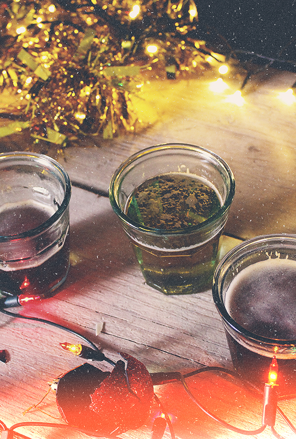 Beers in glasses with Christmas decorations