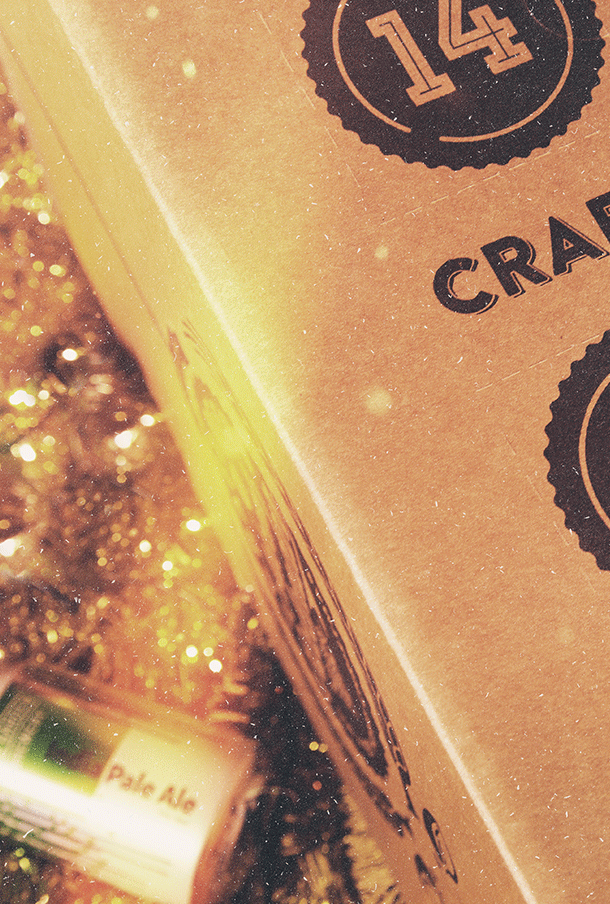 Craft beer advent calendar box close up