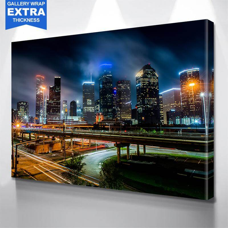 Amazing Glow Stros Houston Skyline Wall Art Canvas Art