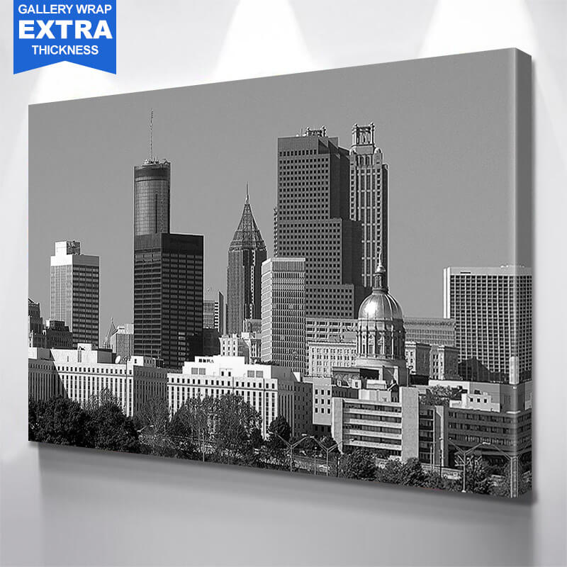 Black & White Atlanta City Wall Art Canvas Art