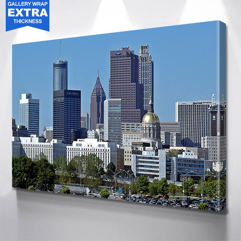 Awesome Blue Atlanta Skyline Wall Art Canvas Art