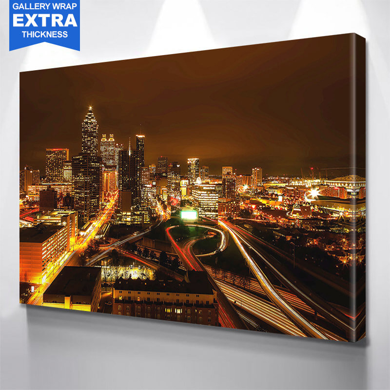 Atlanta Golden Aerial Skyline Wall Art Canvas Art