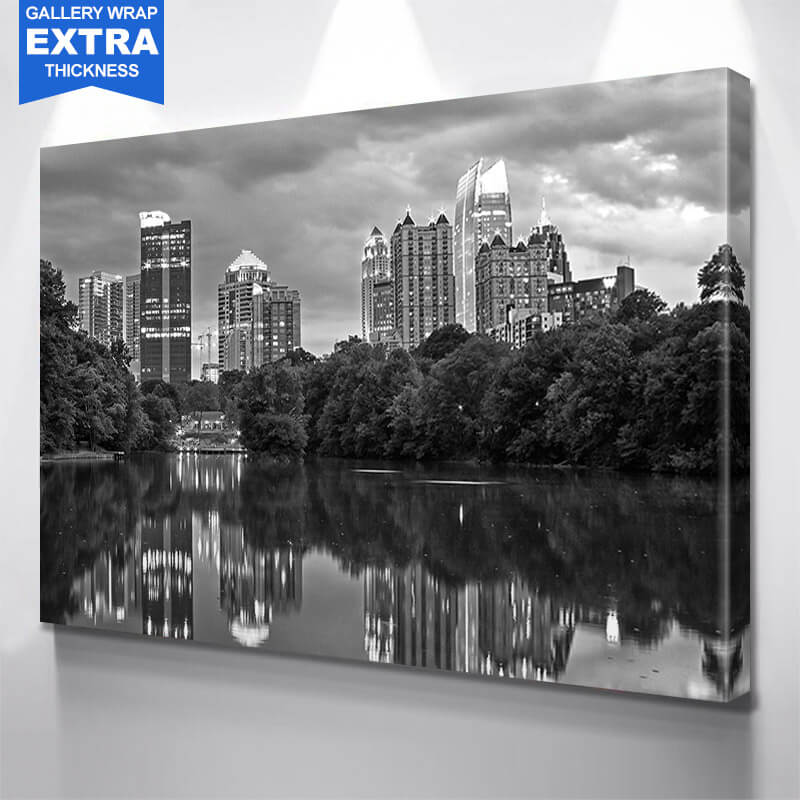 Black & White Reflection Atlanta Wall Art Canvas Art