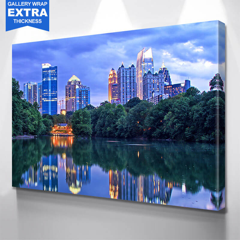 Bright Atlanta Reflection Skyline Wall Art Canvas Art