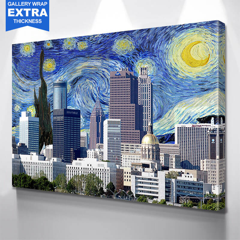Atlanta Starry Night Skyline Wall Art Canvas Art