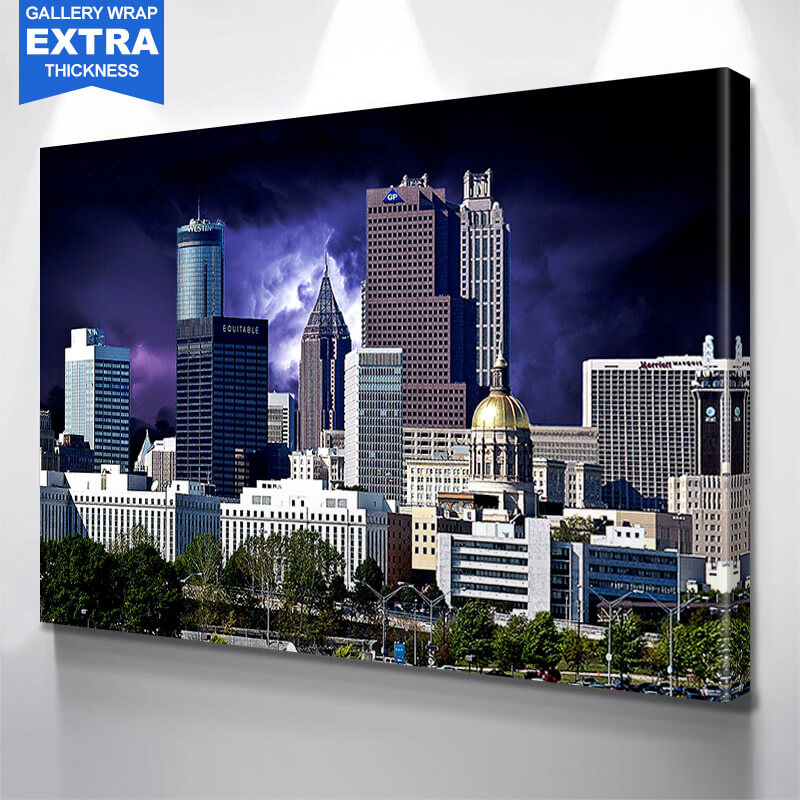 Atlanta Stormy Skyline Wall Art Canvas Art