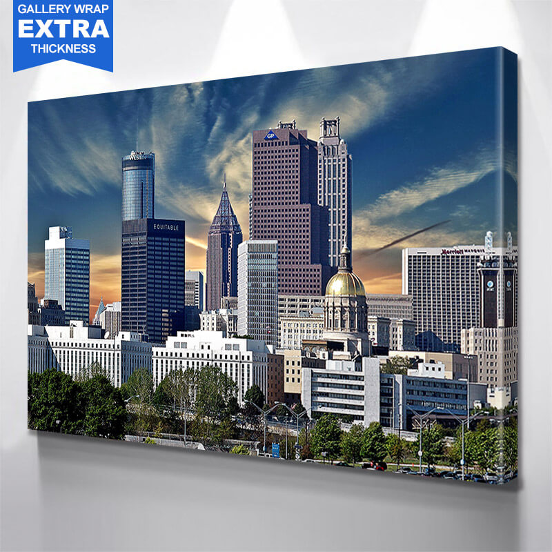 Atlanta Sunny Skyline Wall Art Canvas Art