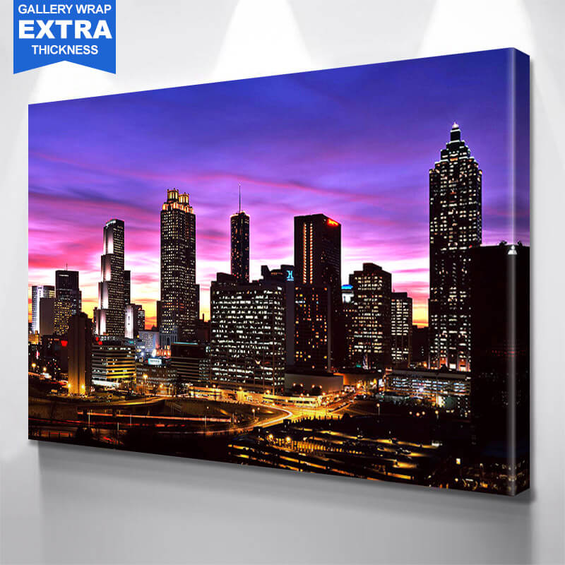Colorful Atlanta Night Skyline Wall Art Canvas Art