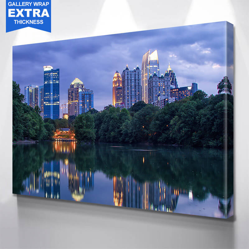 Atlanta Skyline Reflection Wall Art Canvas Art