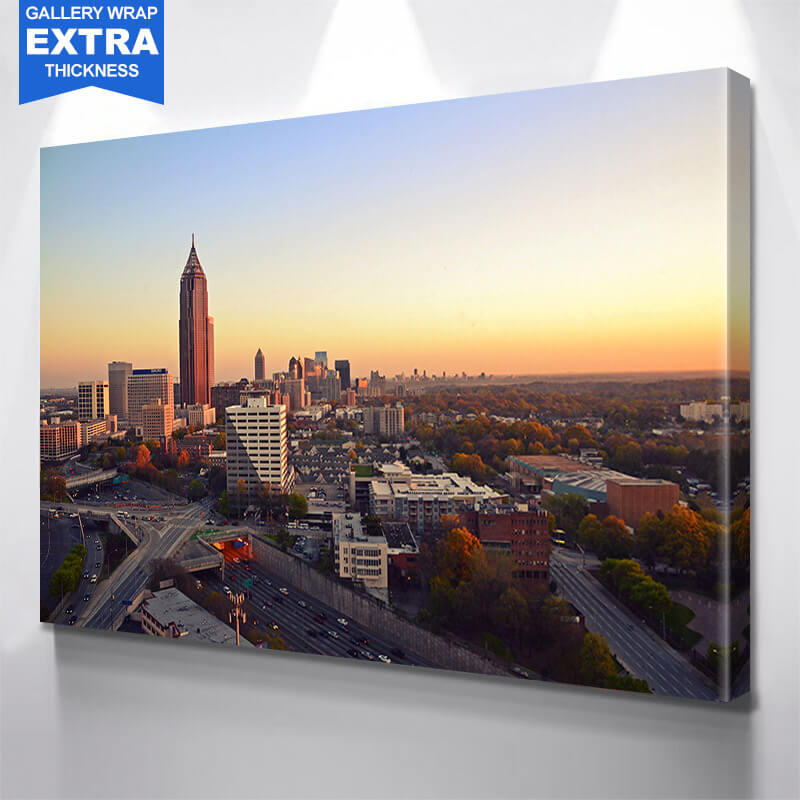 Aerial Atlanta Skyline Wall Art Canvas Art