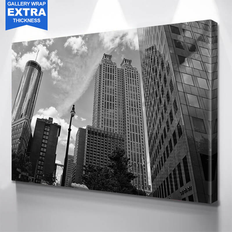Black & White Atlanta Skyline Wall Art Canvas Art