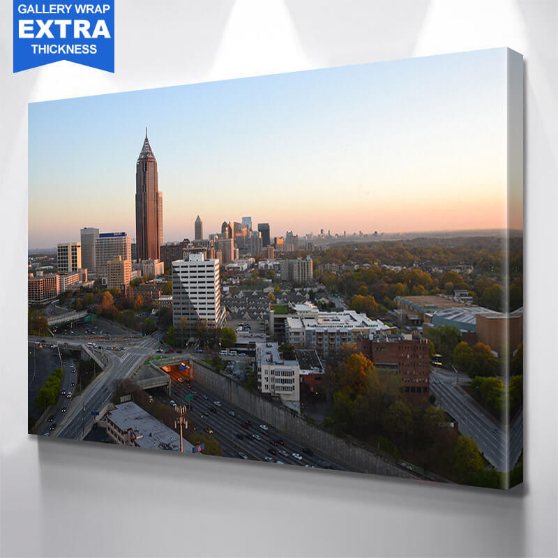 Atlanta Skyline Sunset  Wall Art Canvas Art