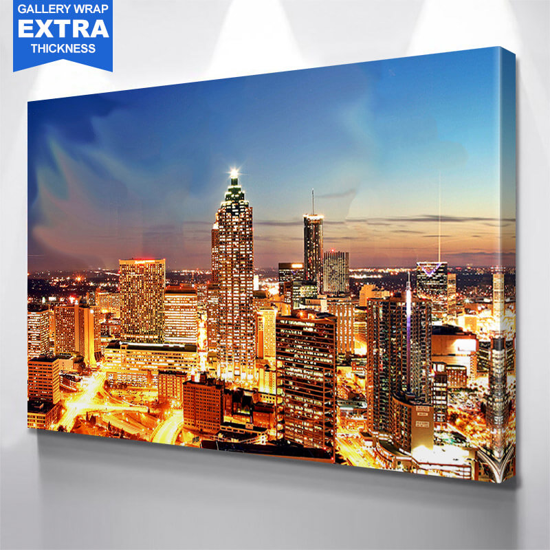 Bright Dusk Atlanta Skyline Wall Art Canvas Art