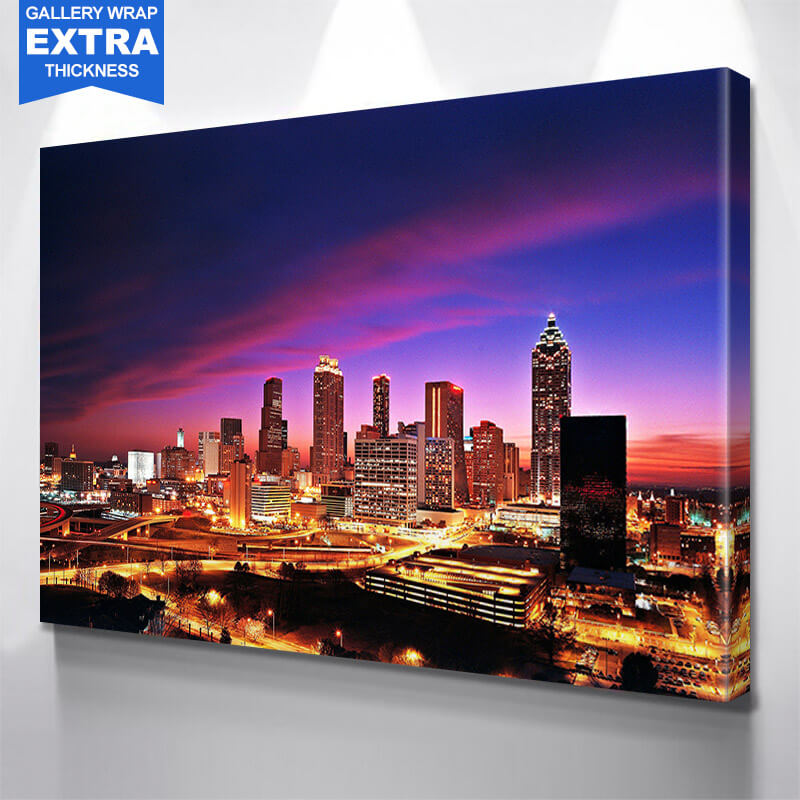 Atlanta Amazing Glow Skyline Wall Art Canvas Art