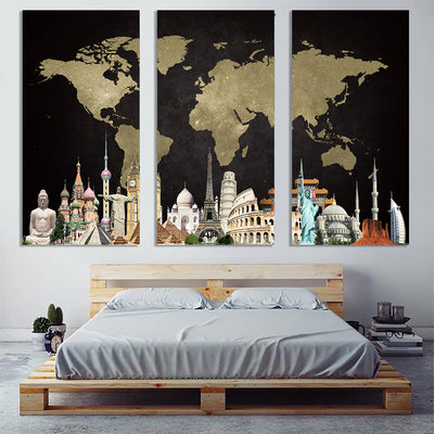 Black gold world map landmarks fine wall art canvas framed zapwalls black gold world map landmarks gumiabroncs Image collections
