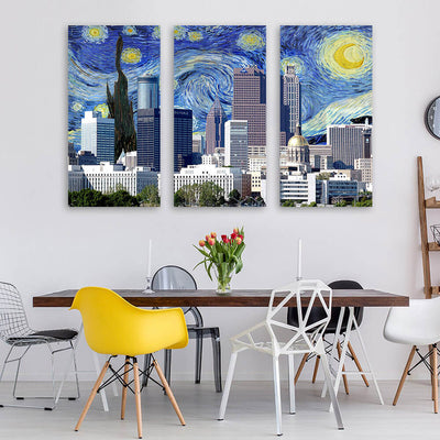 Atlanta Starry Night Skyline Canvas Wall Art Multi Panel Canvas Wall Art