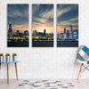 Image of Chicago Skyline Flag Wood Canvas Wall Art