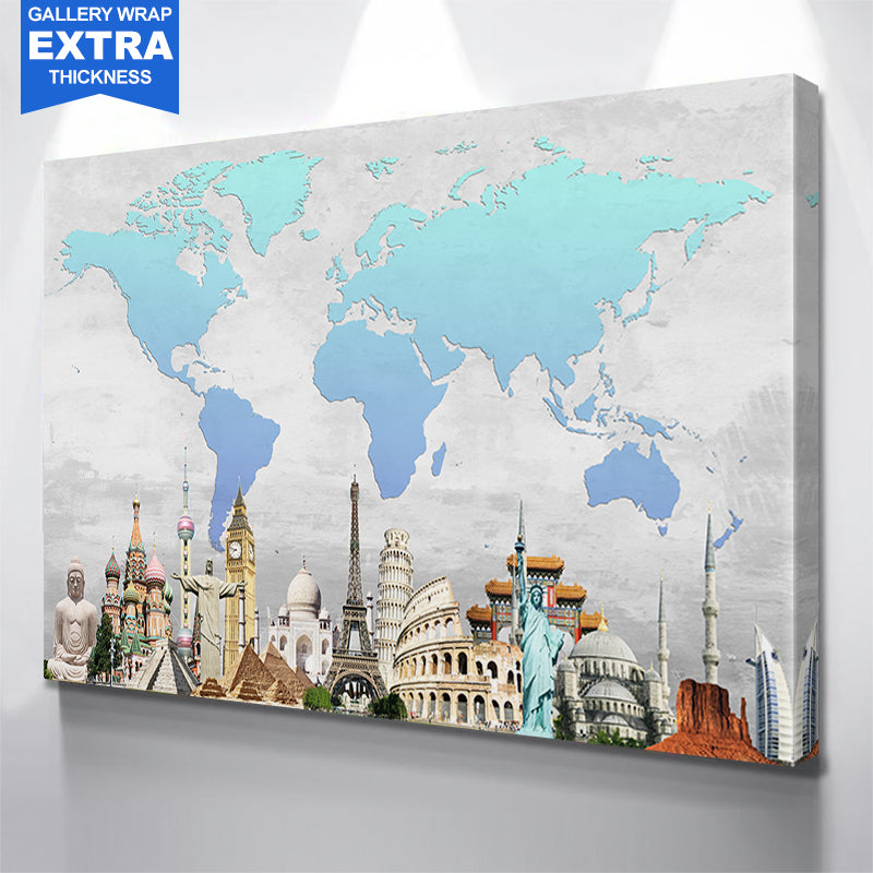 Amazing World Map Blue Canvas
