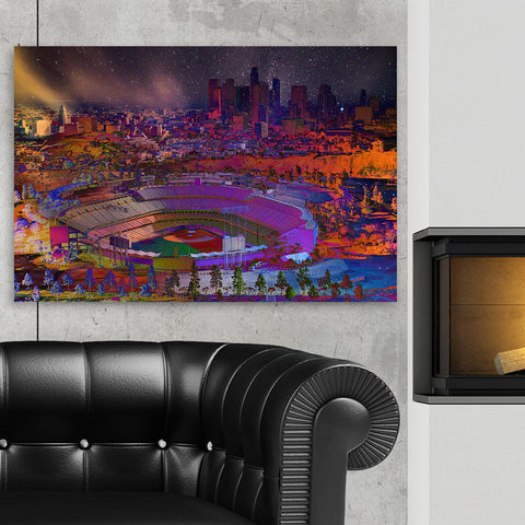 Abstract LA Skyline Canvas Wall Art