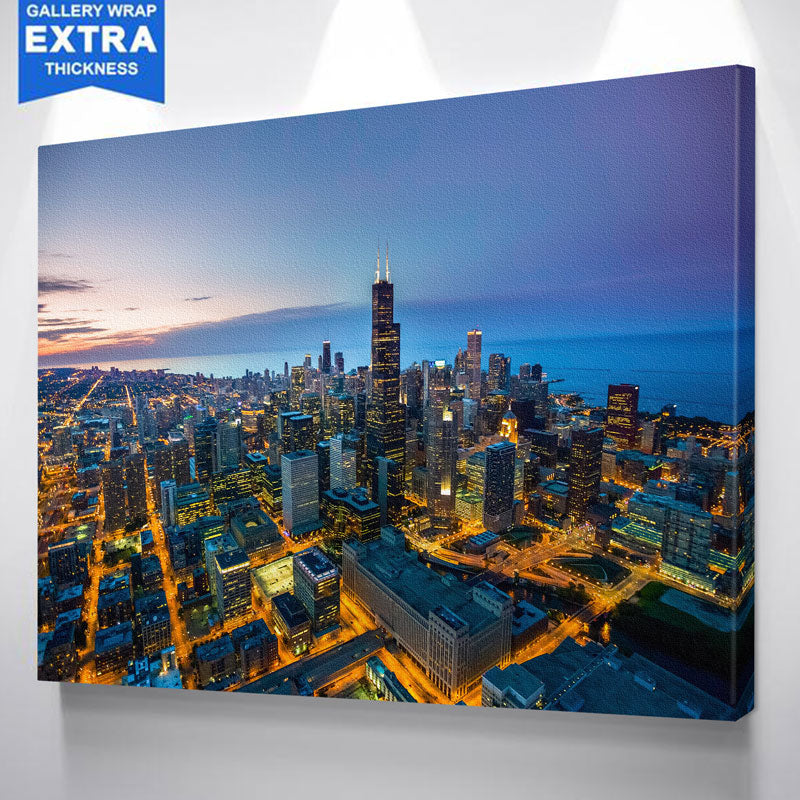 Amazing Dusk Chicago Canvas