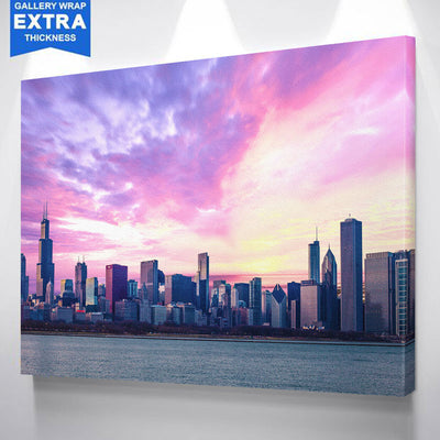 Amazing Chicago Cloudy Skyline Canvas