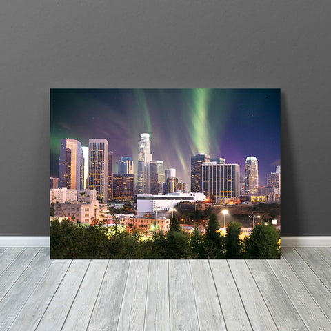 Aurora Sky Los Angeles Skyline Canvas Wall Art