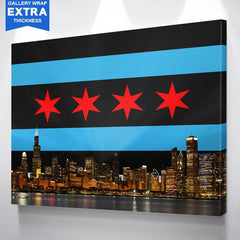Black Chicago Flag Skyline Wall Art