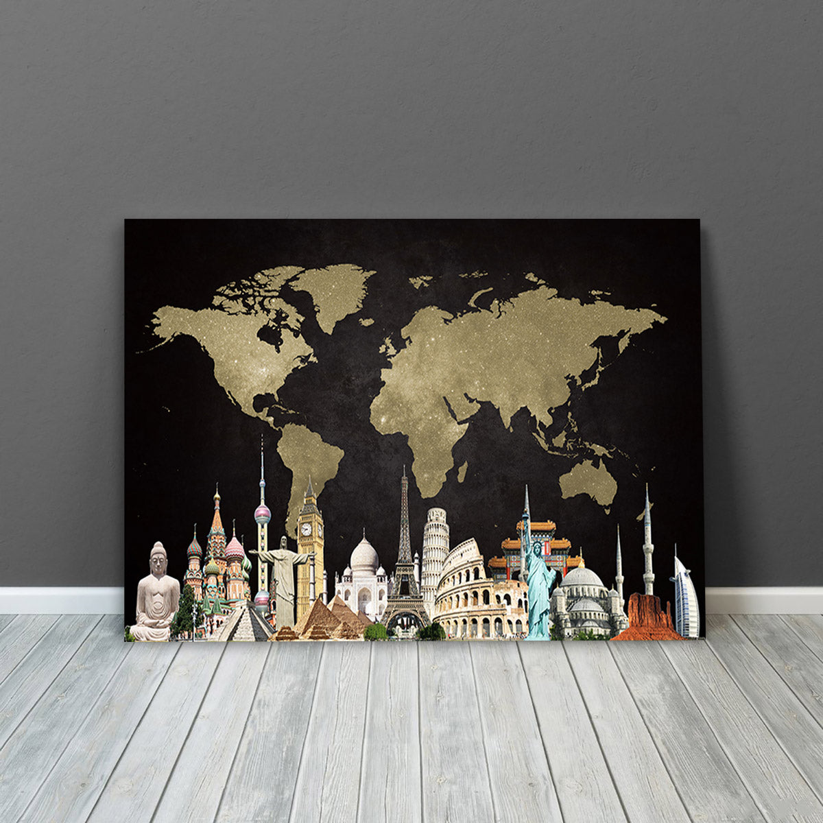 Black Gold World Map Landmarks Fine Wall Art Canvas Framed Zapwalls - Black and gold world map