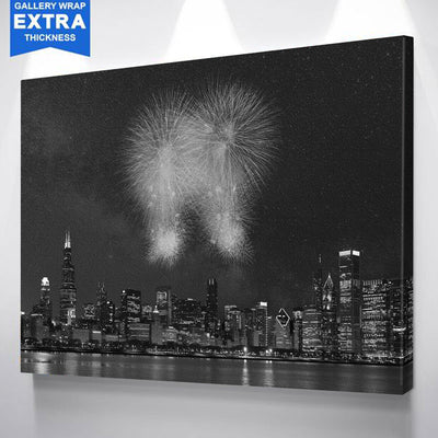 Fireworks Chicago Black & White Canvas