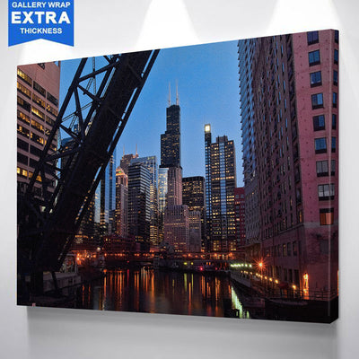 BRIDGE CHICAGO RIVER SEARS TOWER  CANVAS