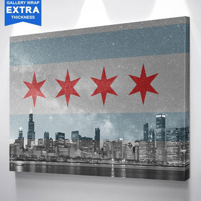 Chicago Flag Skyline Stars Canvas