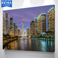 Bright Chicago River Skyline Canvas