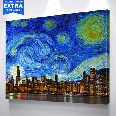 Chicago Starry Night Canvas Wall Art