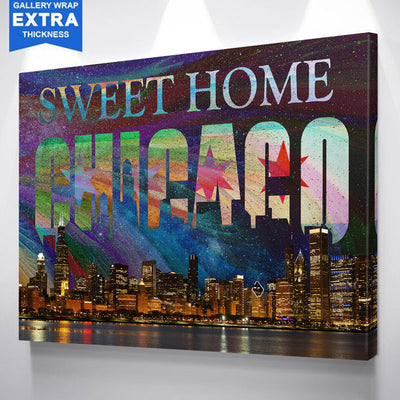 Bright Sweet Home Chicago Skyline Abstract Canvas