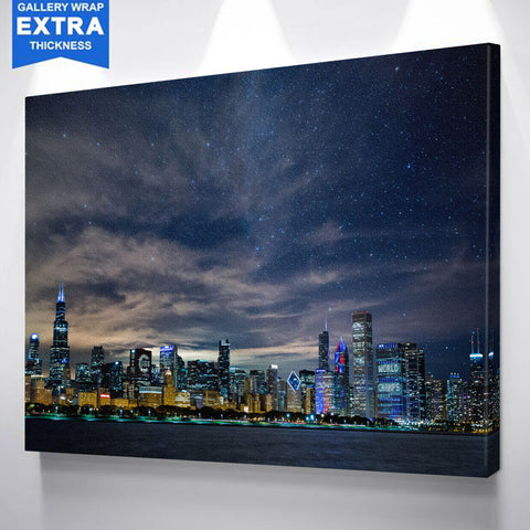 Brilliant Chicago Glow Skyline Canvas