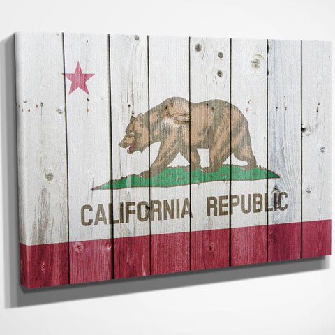 California Flag Wood Canvas Wall Art