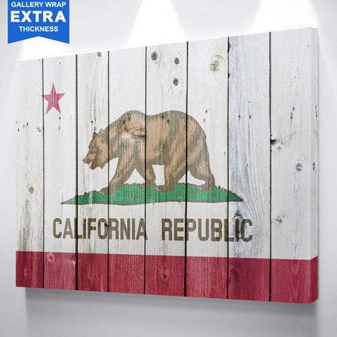 California Flag Wood Canvas