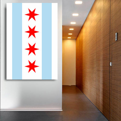 Chicago Flag Vertical Canvas