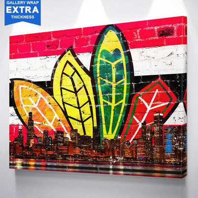 Chicago Feather Red & Black Canvas