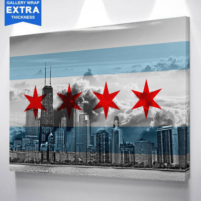 Chicago Flag Skyline Wall Art