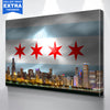 Image of Chicago W Skyline Flag Wall Art