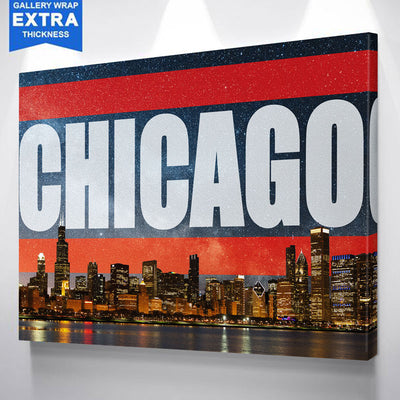 Chicago Bright Orange Skyline Stars Canvas